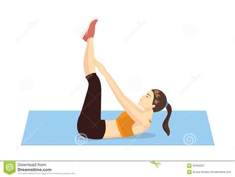 healthy woman abdominal exercises stock vector