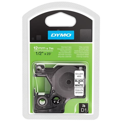 dymo label cassette dymo s0720530 d1 standard label cassette black on white 12