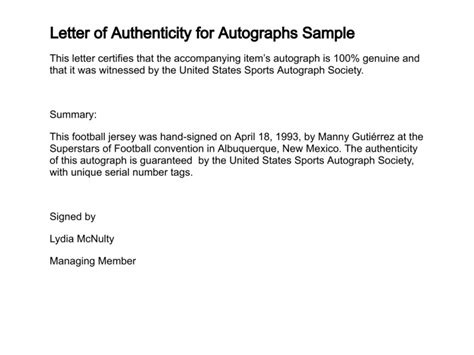 Letter Of Authenticity Template letter of authenticity