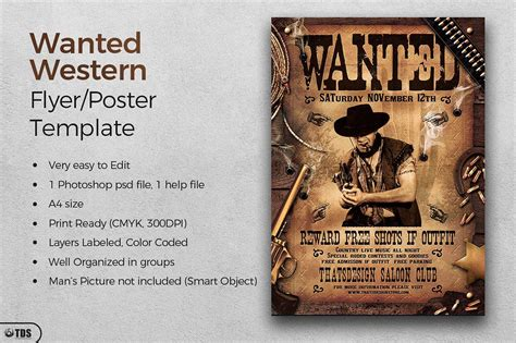 50 Printable Wanted Poster Templates Free Pdf Psd Western Wanted Poster Template