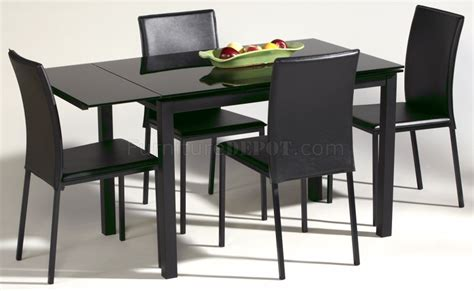 Modern Black Glass Dining Table Black Glass Top Modern Dining Table W Optional Chairs
