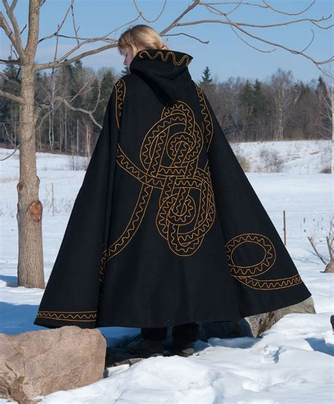 Handmade Cloaks - embroidered lined wool cloak