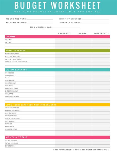 Free Budget Spreadsheet by Free Printable Household Budget Worksheet