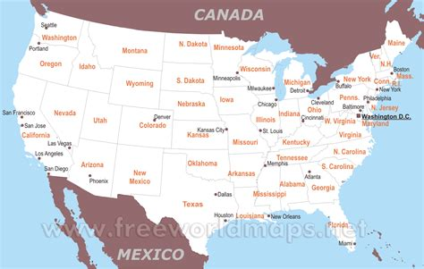 united states map with states and major cities maps of united states of america with major cities