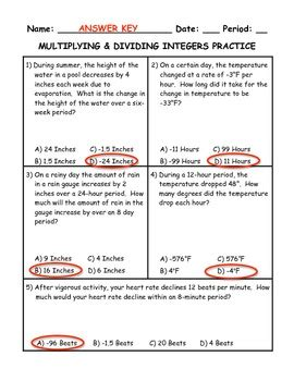 Integer Word Problems Worksheet With Answers