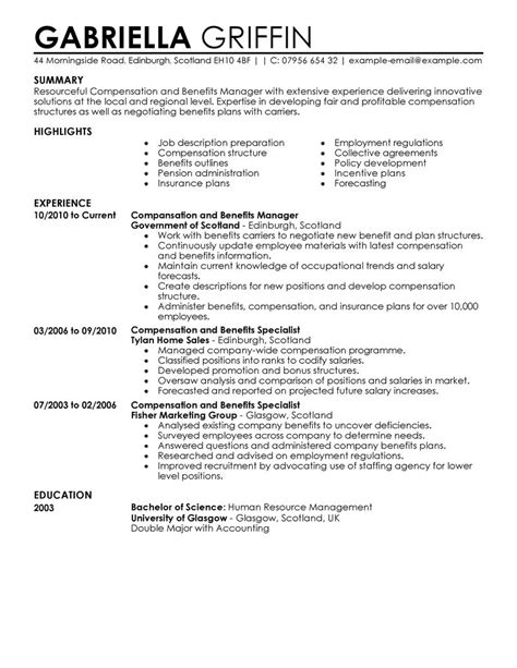 Job Resume Samples Retail by Compensation And Benefits Resume Examples Human