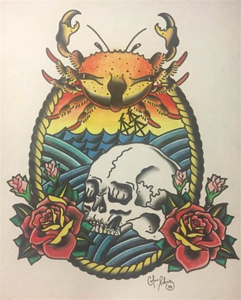 dead sea american traditional ship tattoo flash tattoo