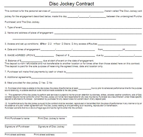 dj contract template free word templates