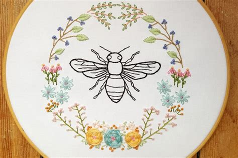 embroidery pattern image 10 bee and honeycomb themed hand embroidery patterns