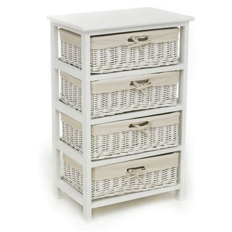 White Wicker Storage Drawers by Wilko 4 Drawer Willow Storage Unit White At Wilko