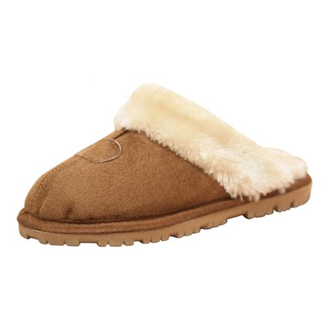 fur lined slippers jwf faux suede fur lined slip on cosy slipper mules