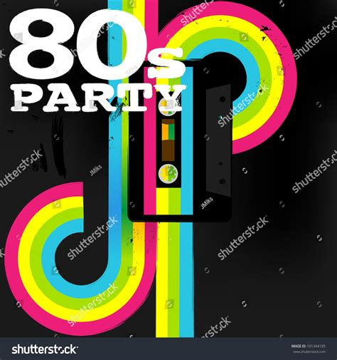 retro 80s party retro poster 80s party flyer with audio cassette tape