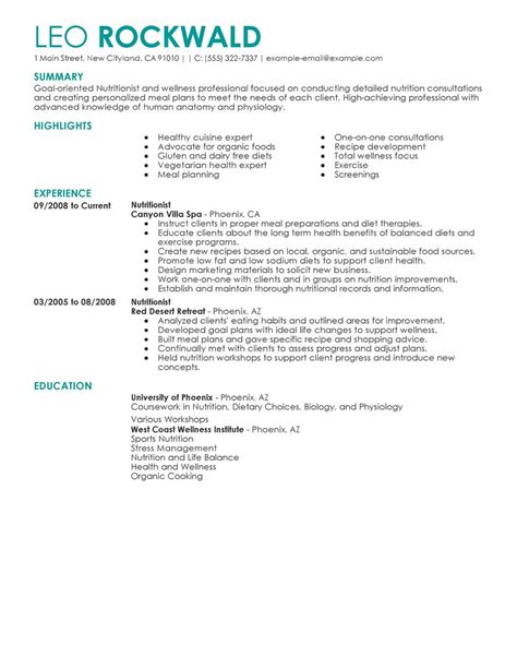 best nutritionist resume exle livecareer