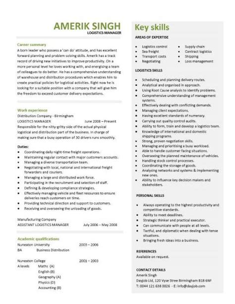 Job Resume Template Singapore by Logistics Manager Cv Template Example Job Description