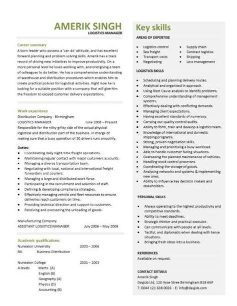 Logistics manager CV template, example, job description