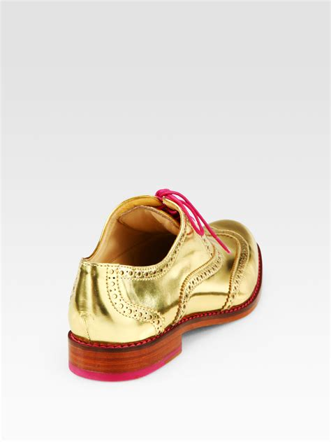gold oxford shoes cole haan metallic leather oxford brogues in metallic lyst