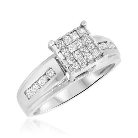 1 carat bridal wedding ring set 14k white gold
