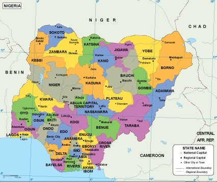 nigeria africa map nigeria maps vector wall maps from netmaps 174 made in