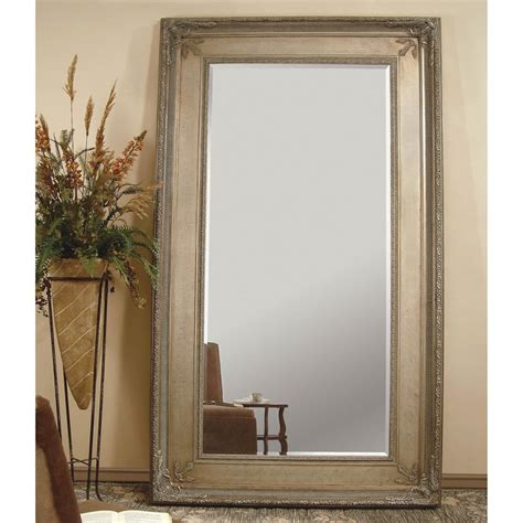 shop bassett mirror company prazzo antique silver beveled floor mirror at lowes com