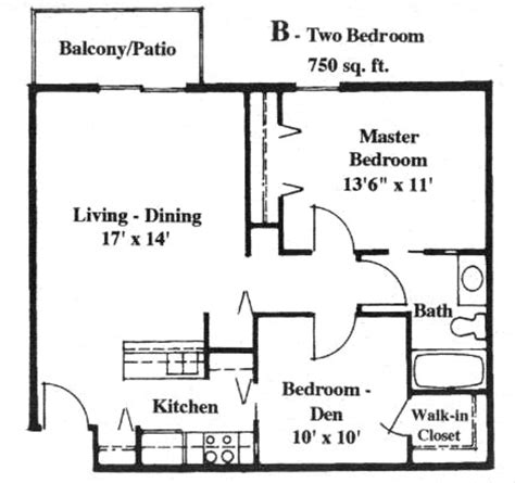 750 square feet floor plan apartment with 750 square feet