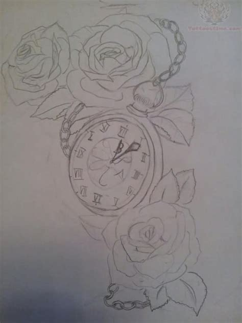 clock and rose tattoo designs roses and clock outline design