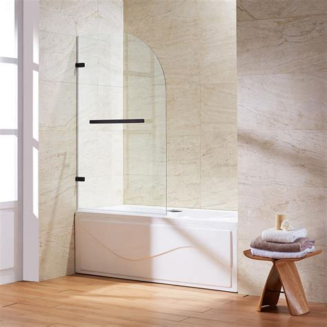 glass pivot bathtub doors vigo orion 34 in x 58 in frameless curved pivot tub