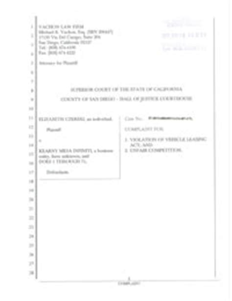 california business and professions code section 17200 kearny mesa infiniti sued for alleged auto lease practices