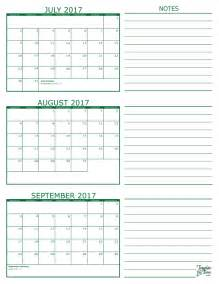 Calendar 2018 June July August 3 Month Calendar 2017