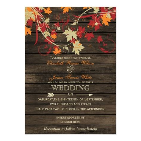 Barn Wood Rustic Fall Leaves  Ee  Wedding Ee    Ee  Invitations Ee
