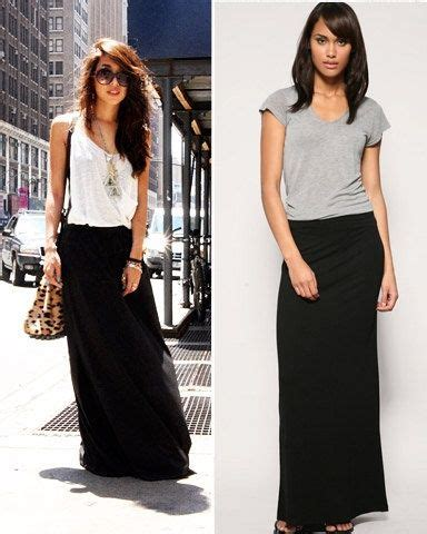 what to wear with a black maxi skirt on a out