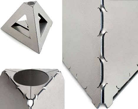 metal origami flat pack sheets form strong shapes