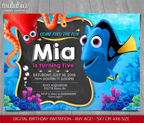 finding dory invitation finding nemo invite disney pixar