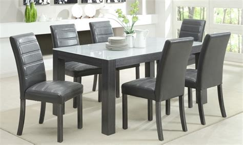 Gray Dining Table Set Tridel 7 Grey Wood Dining Set
