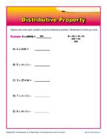 distributive property 3rd grade math worksheets
