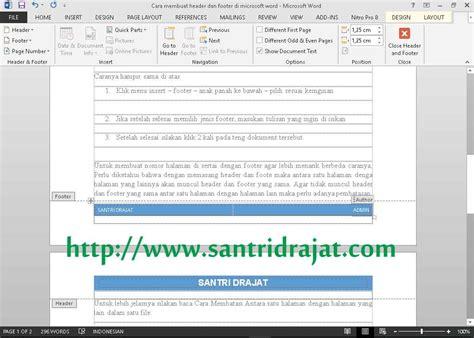 cara membuat header halaman di word cara membuat header dan footer di microsoft word santri