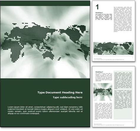 Royalty Free World Map Microsoft Word Template In Green Microsoft Word Doc Templates
