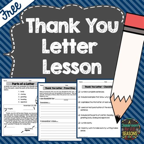 thank you letter to from elementary student classroom freebies thank you letter lesson