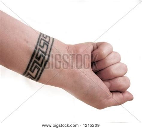 greek key tattoo wrist key image photo bigstock