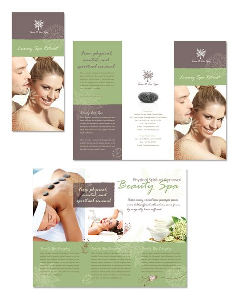 spa beauty centre tri fold brochure template dlayouts