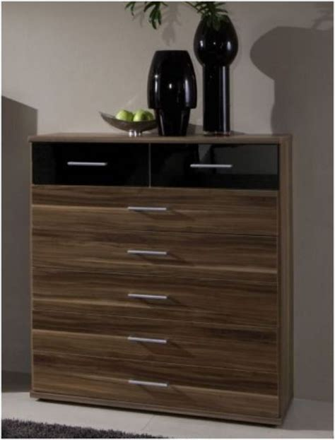 dresden large chest of drawer high gloss black and walnut