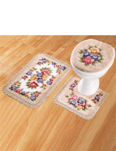 bathroom rugs set 3 bathroom mat set set of 3 pedistal bath mat and toilet cover ebay
