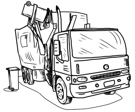 Coloring Page Garbage Truck by Loading Garbage Truck Coloring Pages Print