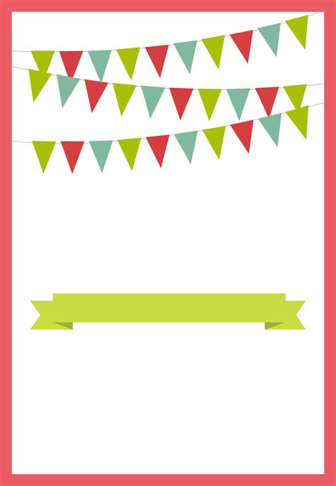 free printable birthday cards greeting island pennants and ribbon red free printable party invitation