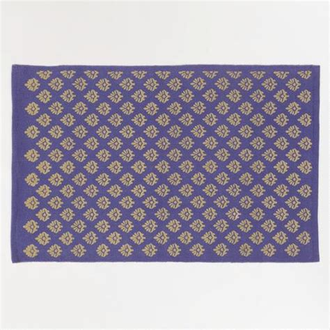 blue and gold rug 2 x3 blue and gold block print dhurrie rug world market