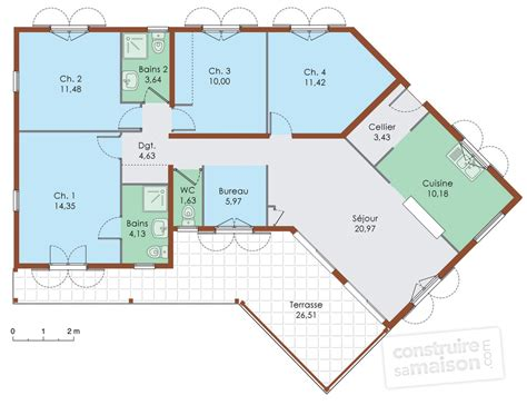 plan maison plain pied en l 4 chambres maison de plain pied 5 d 233 du plan de maison de plain