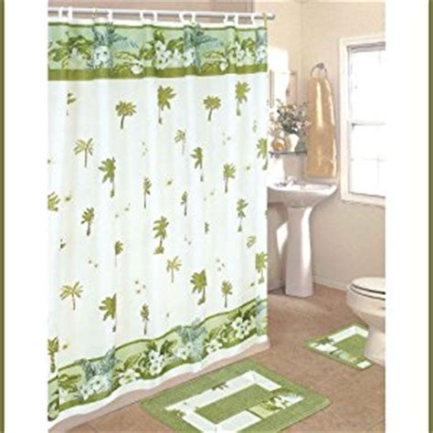 palm tree bathroom sets amazon com palm tree 15 piece bathroom set 2 rugs mats