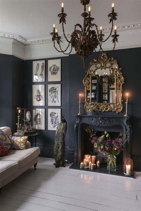 charming glam boho black walls  white painted floor