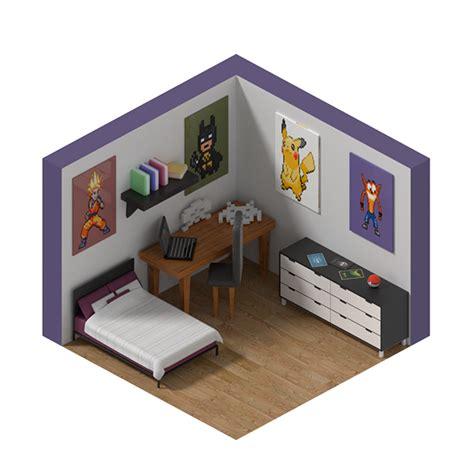 isometric view of bedroom isometric game room on pantone canvas gallery