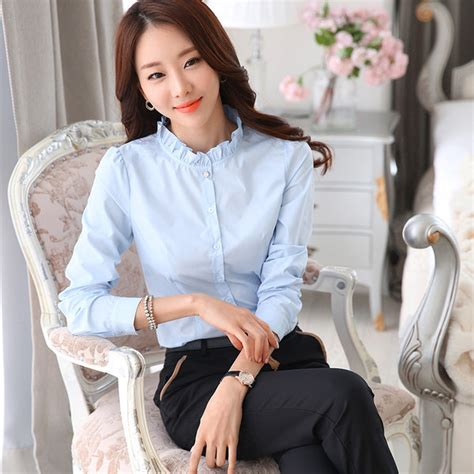 Higneck Korea Pink low cost solid high neck sleeve office blouse lyk010505