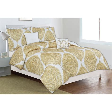 home trends comforter home dynamix classic trends yellow medallion 5 piece king